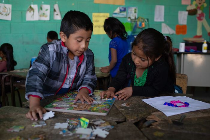 Children in kindergarten study during class. Santa Barbara, Huehuetenango, Guatemala. February 11, 2020.
